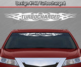 "Design #148 Turbocharged - Windshield Window Tribal Flame Vinyl Sticker Decal Graphic Banner 36""x4.25""+"
