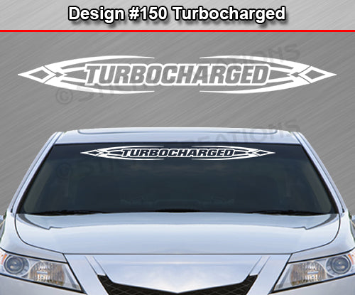 "Design #150 Turbocharged - Windshield Window Tribal Accent Vinyl Sticker Decal Graphic Banner 36""x4.25""+"