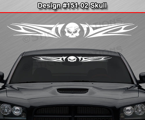 "Design #151 Skull - Windshield Window Tribal Swoosh Vinyl Sticker Decal Graphic Banner 36""x4.25""+"