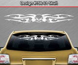 "Design #156 Skull - Windshield Window Tribal Flame Vinyl Sticker Decal Graphic Banner 36""x4.25""+"