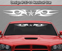 "Design #157 Nautical Star - Windshield Window Tribal Blade Vinyl Sticker Decal Graphic Banner 36""x4.25""+"