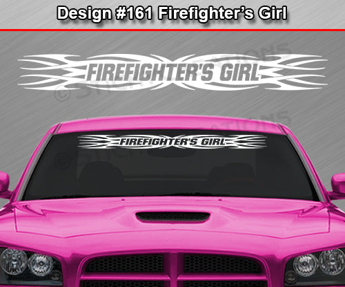 "Design #161 Firefighter's Girl - Windshield Window Tribal Flame Vinyl Sticker Decal Graphic Banner 36""x4.25""+"