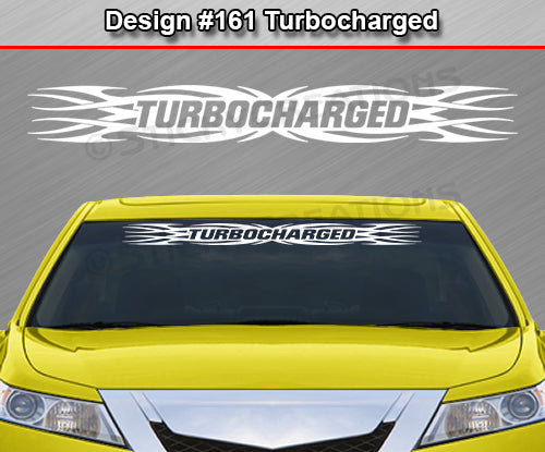 "Design #161 Turbocharged - Windshield Window Tribal Flame Vinyl Sticker Decal Graphic Banner 36""x4.25""+"