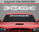 "Design #161 Your Text - Custom Personalized Windshield Window Tribal Flame Vinyl Sticker Decal Graphic Banner 36""x4.25""+"