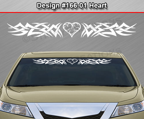 "Design #166 Heart - Windshield Window Tribal Spikes Vinyl Sticker Decal Graphic Banner 36""x4.25""+"