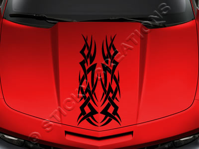Design #166 Hood - Tribal Spikes Decal Sticker Vinyl Graphic Car Truck SUV Vehicle