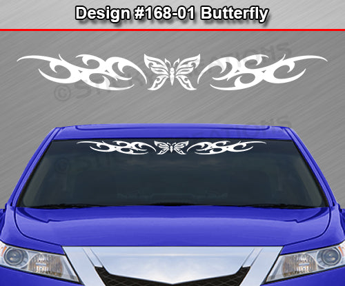 "Design #168 Butterfly - Windshield Window Tribal Curls Vinyl Sticker Decal Graphic Banner 36""x4.25""+"