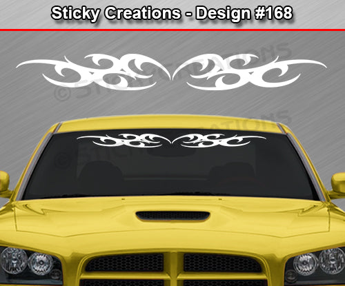"Design #168 - 36""x4.25"" + Windshield Window Tribal Curls Vinyl Sticker Decal Graphic Banner"