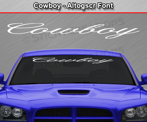 "Cowboy - Altogscr Font - Windshield Window Vinyl Sticker Decal Graphic Banner Text Letters 36""x4.25""+"