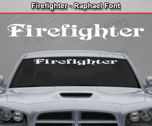 "Firefighter - Raphael Font - Windshield Window Vinyl Sticker Decal Graphic Banner Text Letters 36""x4.25""+"