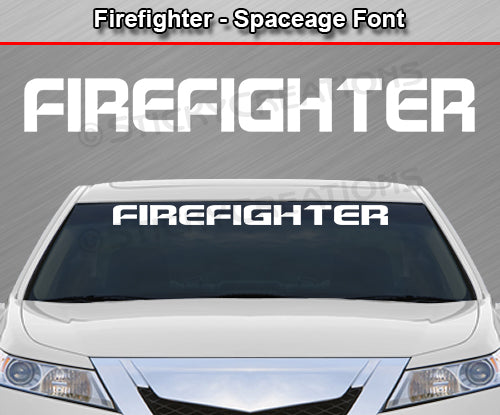 "Firefighter - Spaceage Font - Windshield Window Vinyl Sticker Decal Graphic Banner Text Letters 36""x4.25""+"