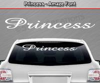 "Princess - Amaze Font - Windshield Window Vinyl Sticker Decal Graphic Banner Text Letters 36""x4.25""+"