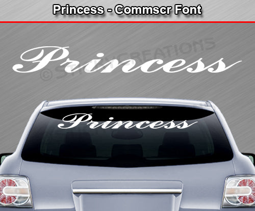 "Princess - Commscr Font - Windshield Window Vinyl Sticker Decal Graphic Banner Text Letters 36""x4.25""+"