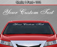 "Shells 1 Script Font #1111 - Custom Personalized Your Text Letters Windshield Window Vinyl Sticker Decal Graphic Banner 36""x4.25""+"