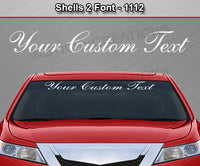 "Shells 2 Script Font #1112 - Custom Personalized Your Text Letters Windshield Window Vinyl Sticker Decal Graphic Banner 36""x4.25""+"