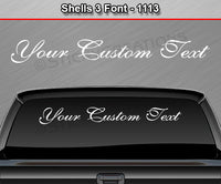 "Shells 3 Script Font #1113 - Custom Personalized Your Text Letters Windshield Window Vinyl Sticker Decal Graphic Banner 36""x4.25""+"