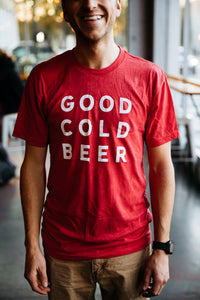 Good Cold Beer Red Triblend Tee