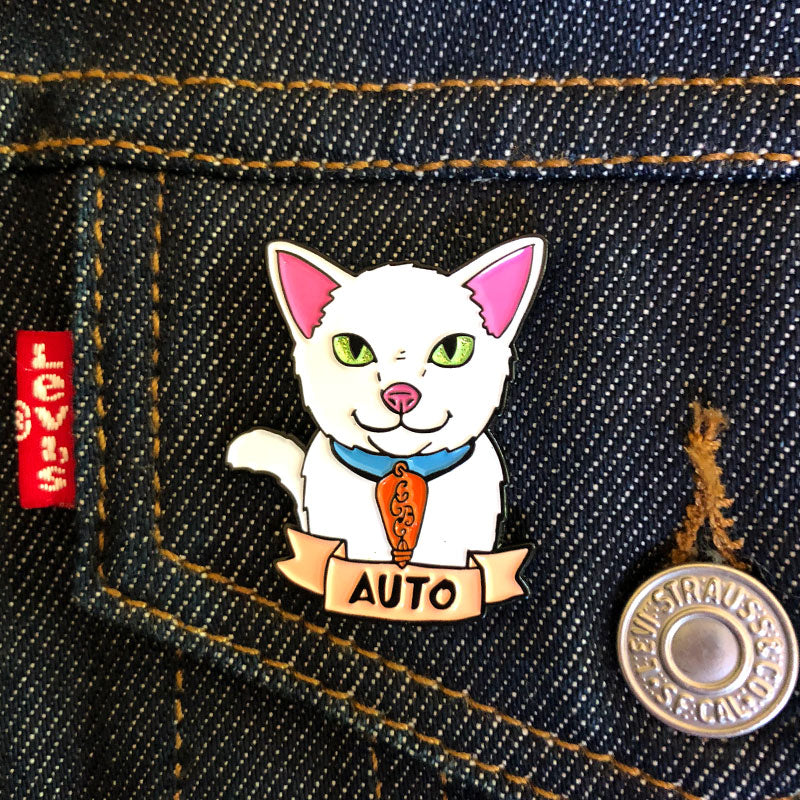 Auto the Brewery Cat Enamel Pin