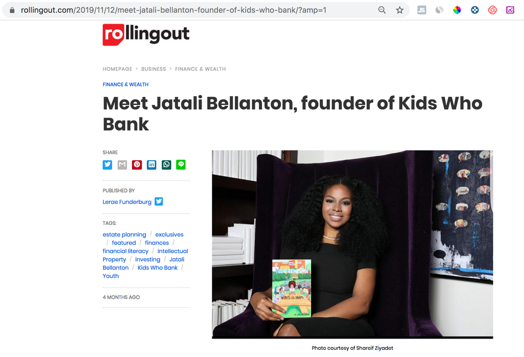 Article On Rollingout: Meet Jatali Bellanton, Founder of Kids Who Bank