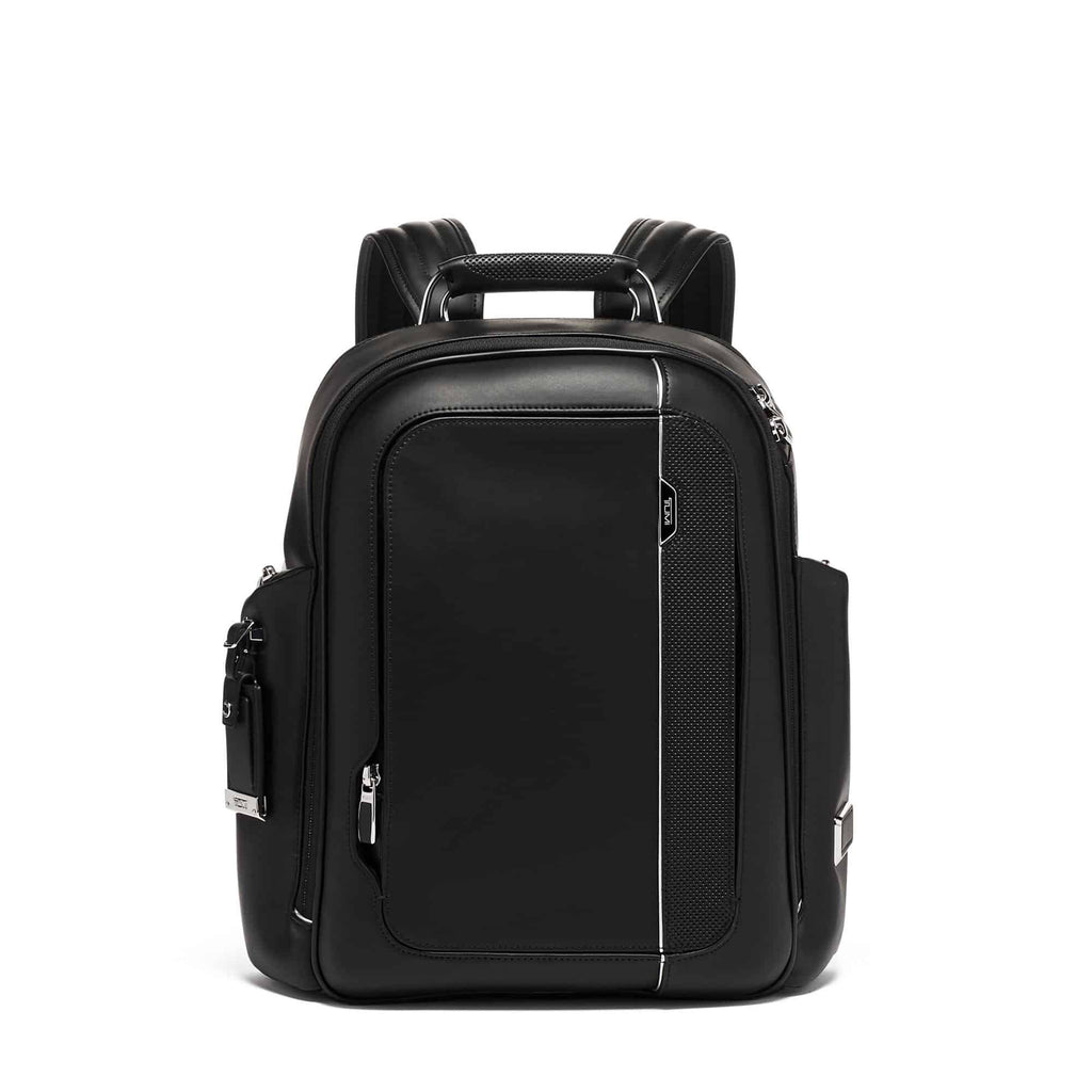 TUMI Arrivé Larson Backpack Leather in colour Black - Forero's Bags and Luggage Vancouver Richmond