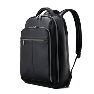 "Samsonite Classic Leather Backpack 15.6"" in Black front view"