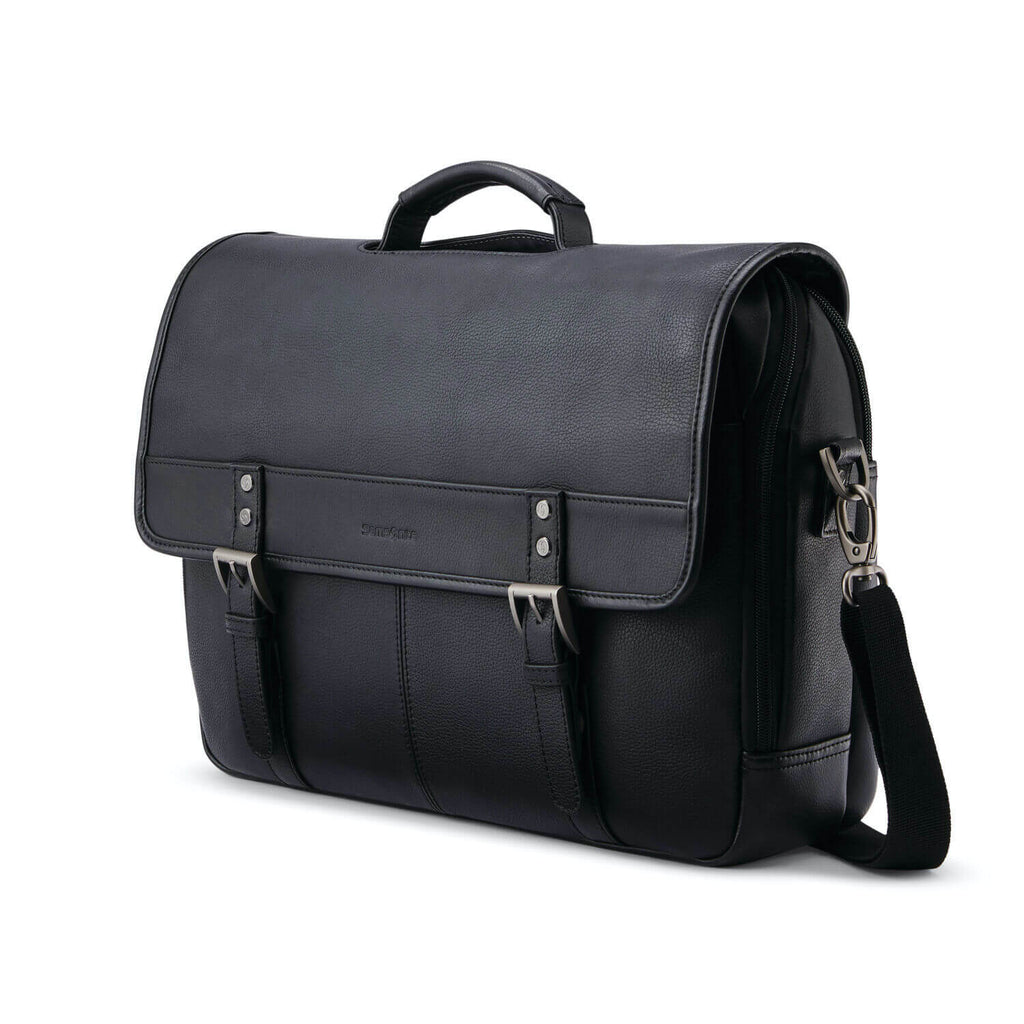 "Samsonite Classic Leather Flapover 15.6"" in Black front view"