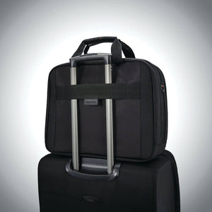 "Samsonite Pro Double Compartment Brief 15.6"" in Black rear view"