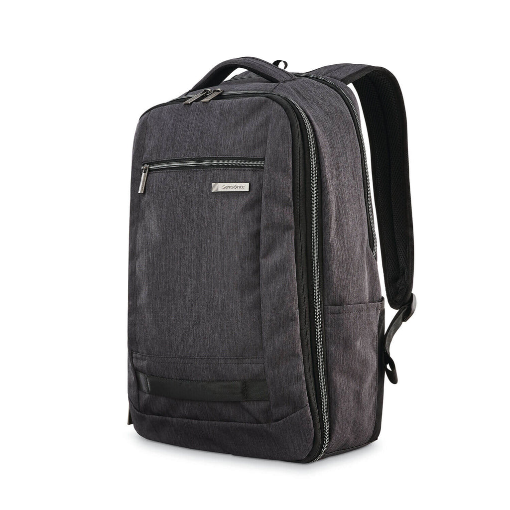 "Samsonite Modern Utility Travel Backpack Expandable 17"" in Charcoal Heather front view"