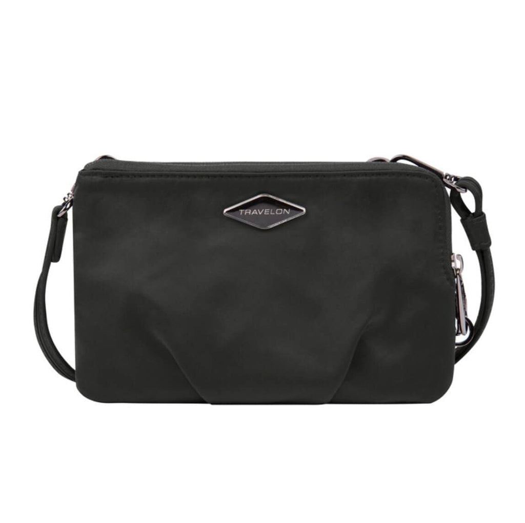 Travelon Anti-Theft Parkview Double Zip Crossbody Clutch in colour Black - Forero's Bags and Luggage Vancouver Richmond