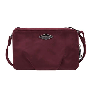 Travelon Anti-Theft Parkview Double Zip Crossbody Clutch in colour Wine - Forero's Bags and Luggage Vancouver Richmond