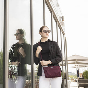 Travelon Anti-Theft Parkview Small Crossbody in colour Wine- Forero's Bags and Luggage Vancouver Richmond