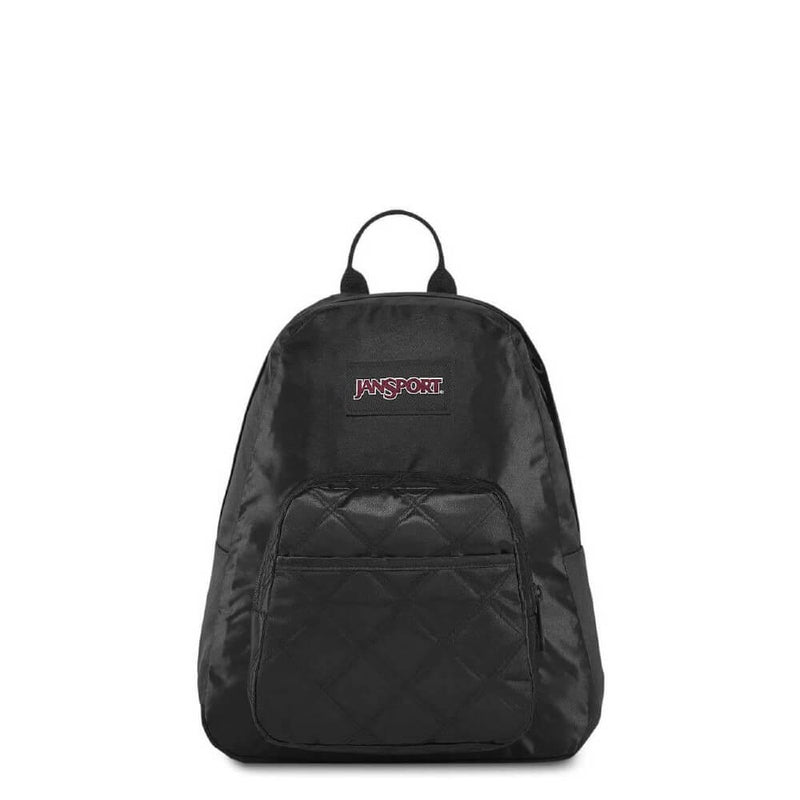 JanSport Half Pint FX Backpack in Black Satin Diamond front view