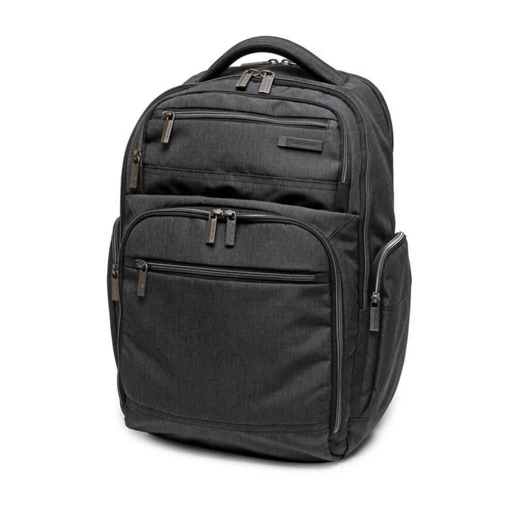 "Samsonite Modern Utility Double Shot Backpack 15.6"" in Charcoal front view"