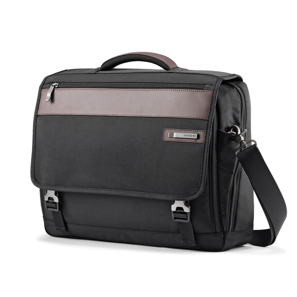 "Samsonite Kombiz Flapover Briefcase 15.6"" in Black front view"