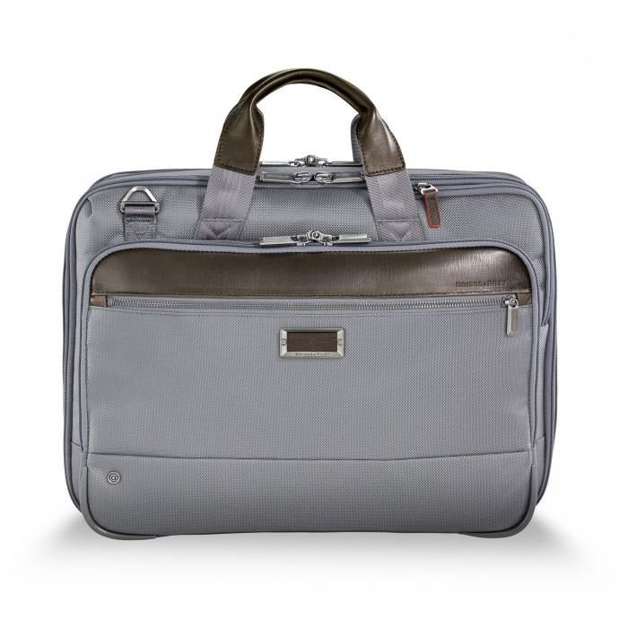 Briggs & Riley @work Medium Expandable Brief in Grey front view