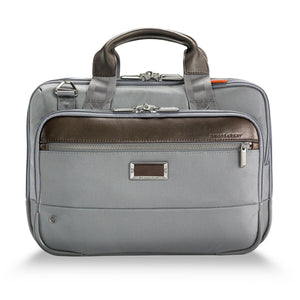 Briggs & Riley @work Small Expandable Brief in Grey front view