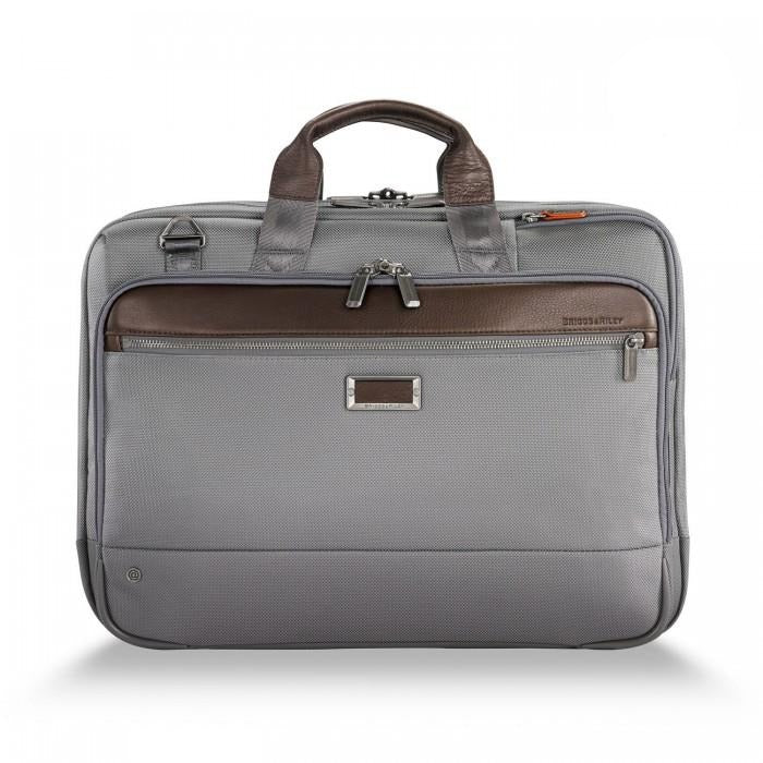 Briggs & Riley @work Large Expandable Brief in Grey front view