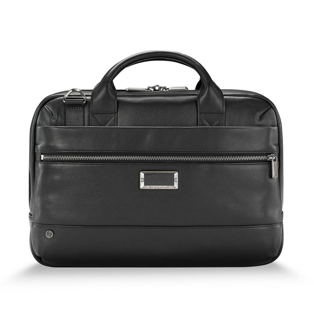 Briggs & Riley @work Leather Slim Brief black - front