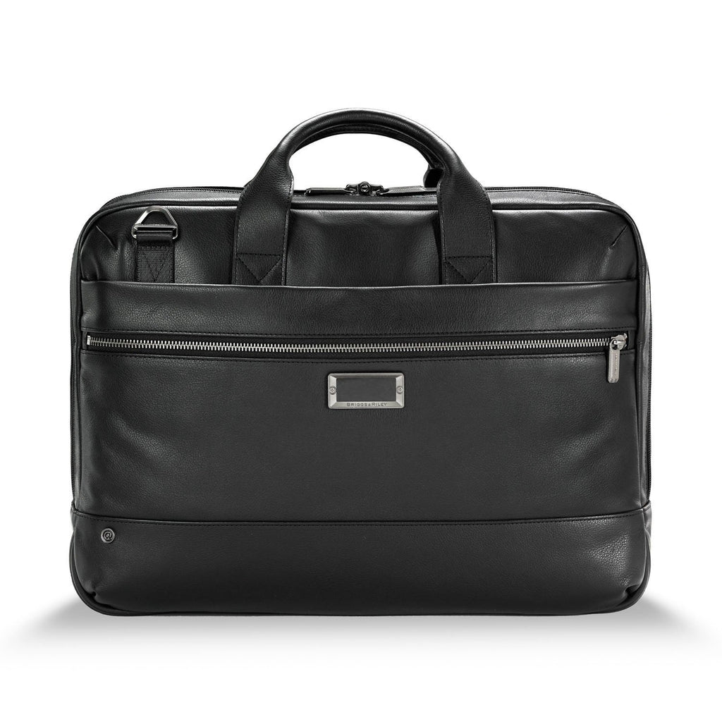 Briggs & Riley @work Leather Medium Brief black - front