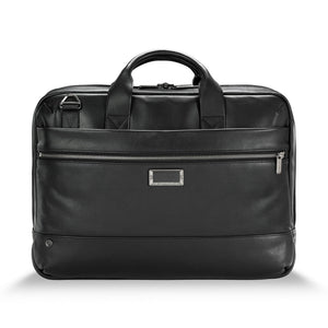 Briggs & Riley @work Leather Medium Brief in Black front view