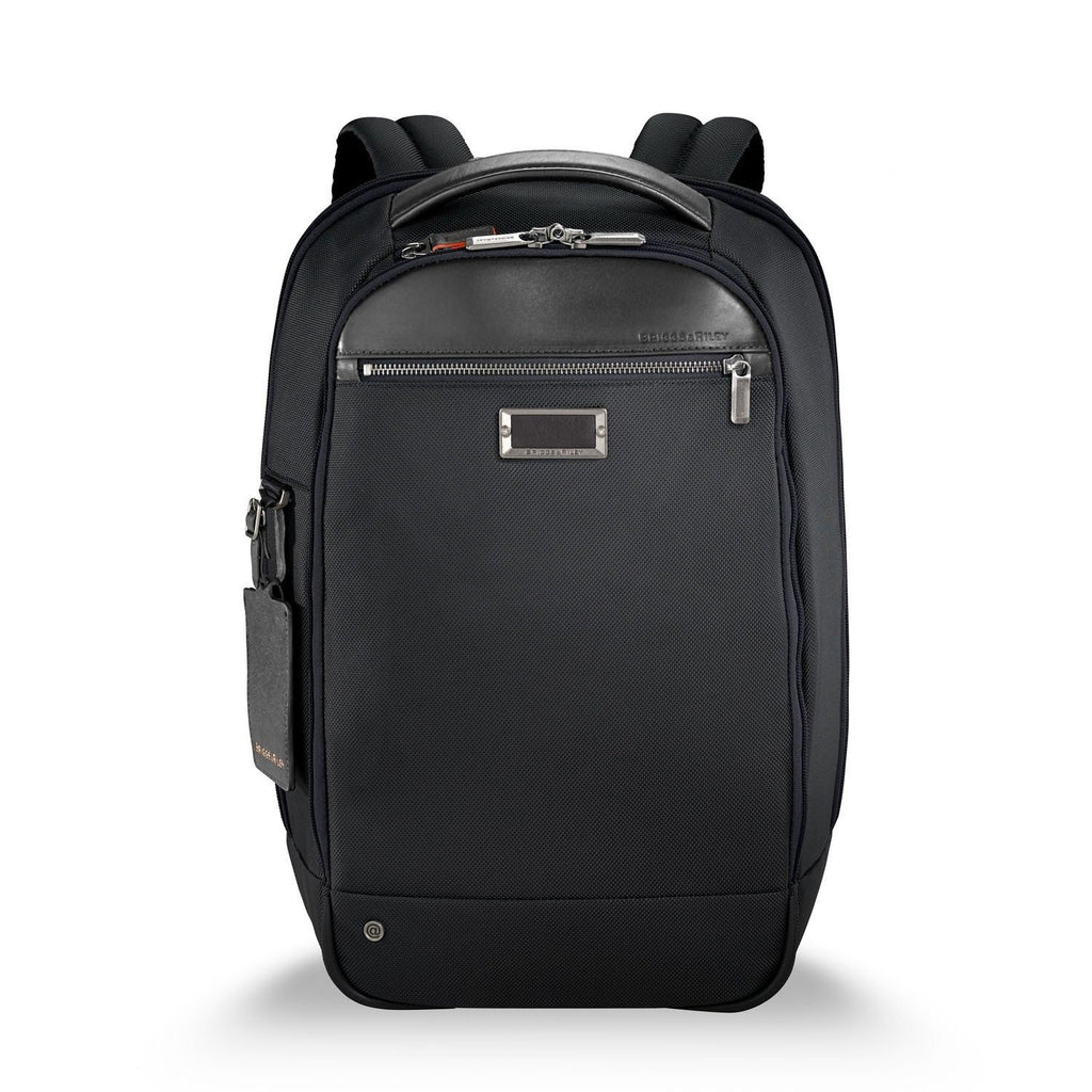 Briggs & Riley @work Medium Slim Backpack in Black front view
