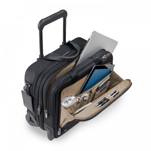 Briggs & Riley @work Medium 2-Wheel Expandable Brief in Black organizer view