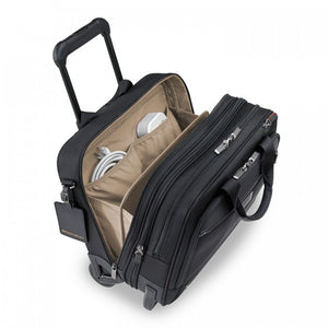 Briggs & Riley @work Medium 2-Wheel Expandable Brief in Black inside view