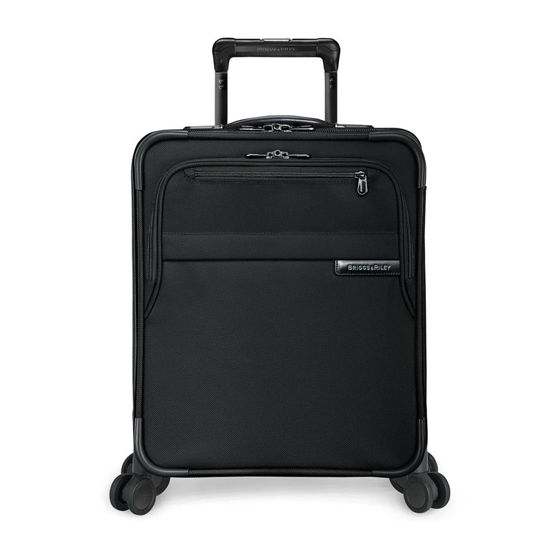 Briggs & Riley Baseline International Carry-On Expandable Wide-Body Spinner in Black front view