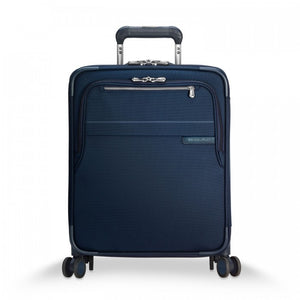 Briggs & Riley Baseline International Carry-On Expandable Wide-Body Spinner in Navy front view