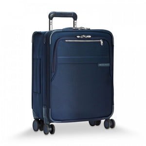 Briggs & Riley Baseline International Carry-On Expandable Wide-Body Spinner in Navy side view