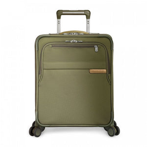 Briggs & Riley Baseline International Carry-On Expandable Wide-Body Spinner in Olive front view