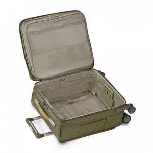 Briggs & Riley Baseline International Carry-On Expandable Wide-Body Spinner in Olive inside view