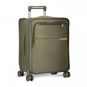 Briggs & Riley Baseline International Carry-On Expandable Wide-Body Spinner in Olive side view