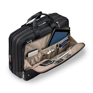 Briggs & Riley @work Large Expandable Brief in Black organizer pocket